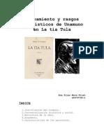 Pensamiento y rasgos novelísticos de Unamuno en La tía Tula