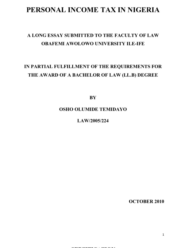 thesis on taxation in nigeria