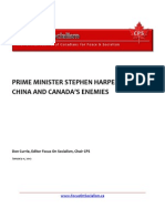 Prime Minister Stephen Harper Goes to China and Canada's Enemies