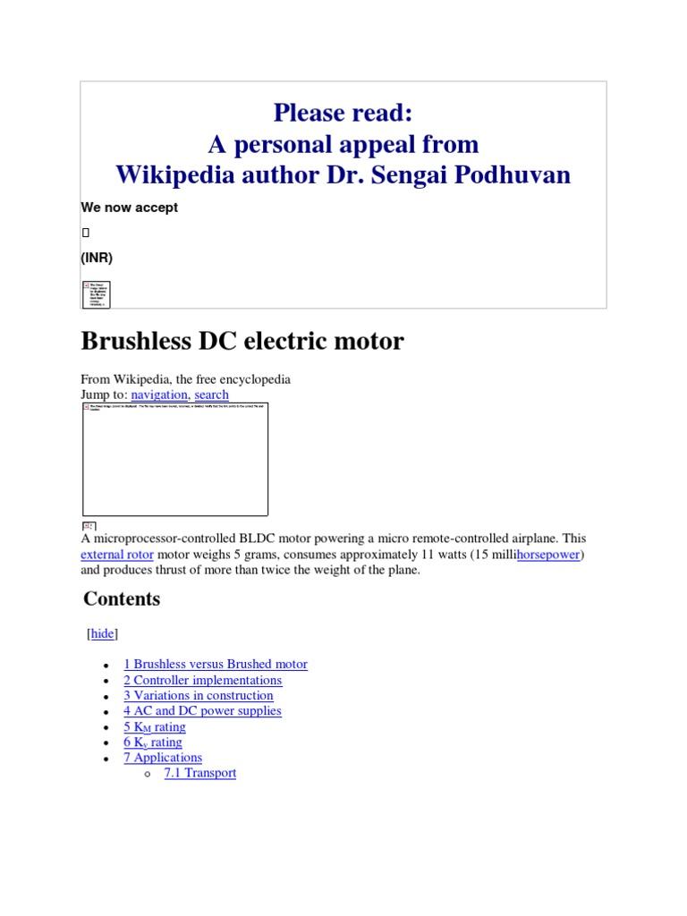 Brushless Dc Electric Motor Wikipedia The Free Encyclopedia Motors Construction Engine Brushes Engines
