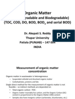 Organic Matter, BOD and BOD Kinetics