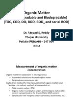 Organic Matter, BOD and BOD Kinetics