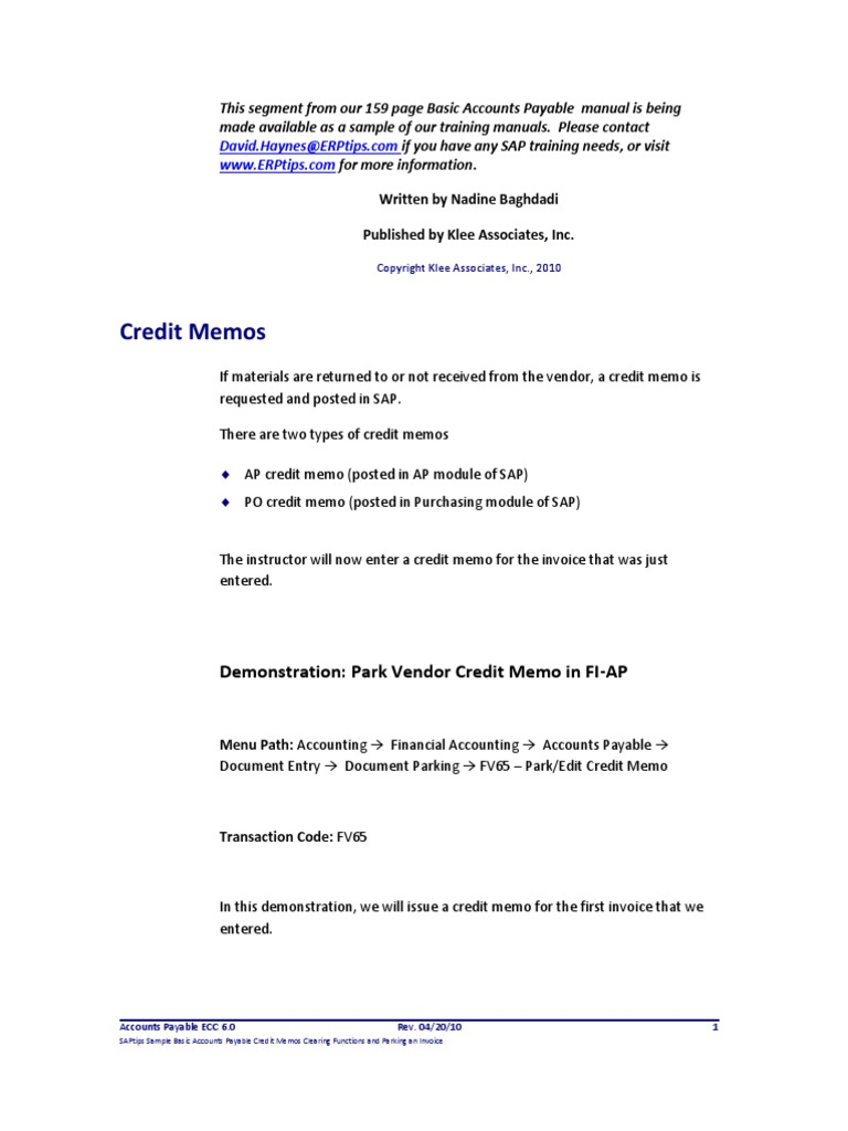 accounts payable credit memo accounts payable business