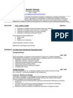 Automotive Fleet Maintenance Manager in Chicago IL Resume Russell Johnson