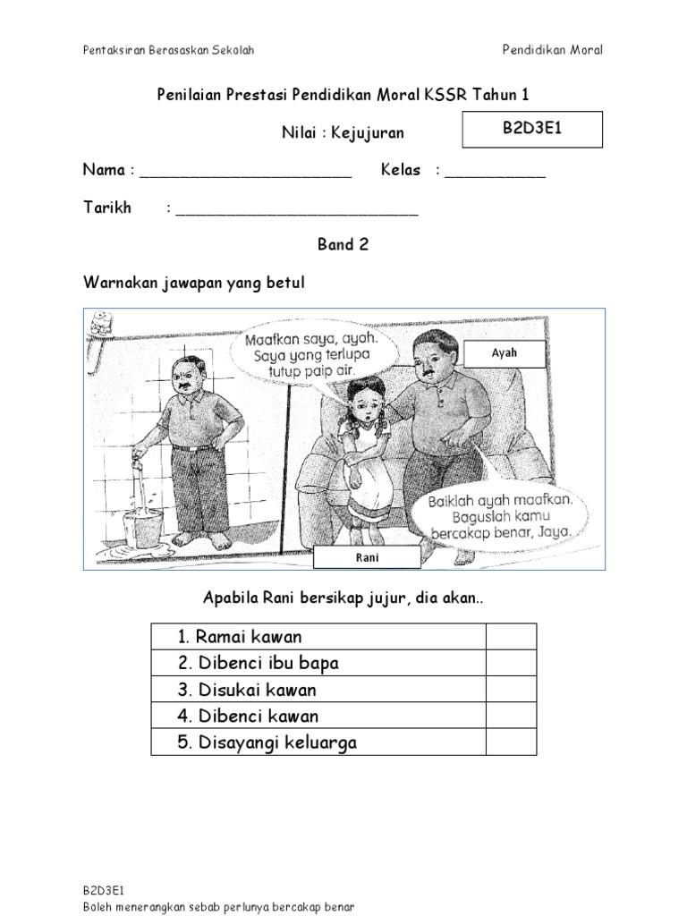 Evidens Pbs Pendidikan Moral Tahun 1 Nilai Kejujuran Band 2 6 Band 1 Not Found