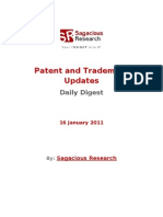 Sagacious Research - Patent and  Trademark Updates – 16-January 2012