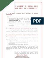 Questões sobre a nova Lei de Prisões - Lei nº 12 403 2011