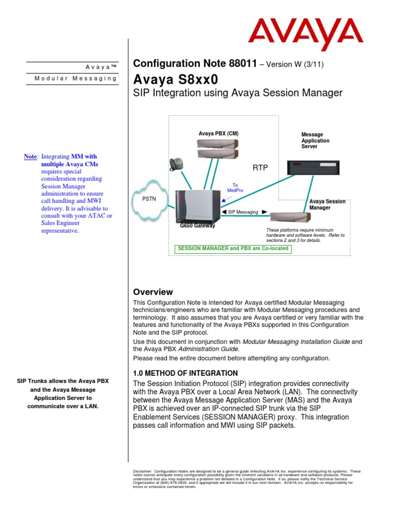 SIP Integration Using Avaya Session Manager | Session Initiation