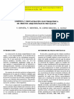España, T. et al. Limpieza y restauración electroquímica objetos arq. metálicos. 1985