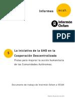 La Iniciativa de la Ghd en la Cooperación Descentralizada. Pistas para Mejorar la Acción HumanItaria de las Comunidades Autónomas