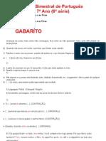 Prova Bimestral de Português GABARITO