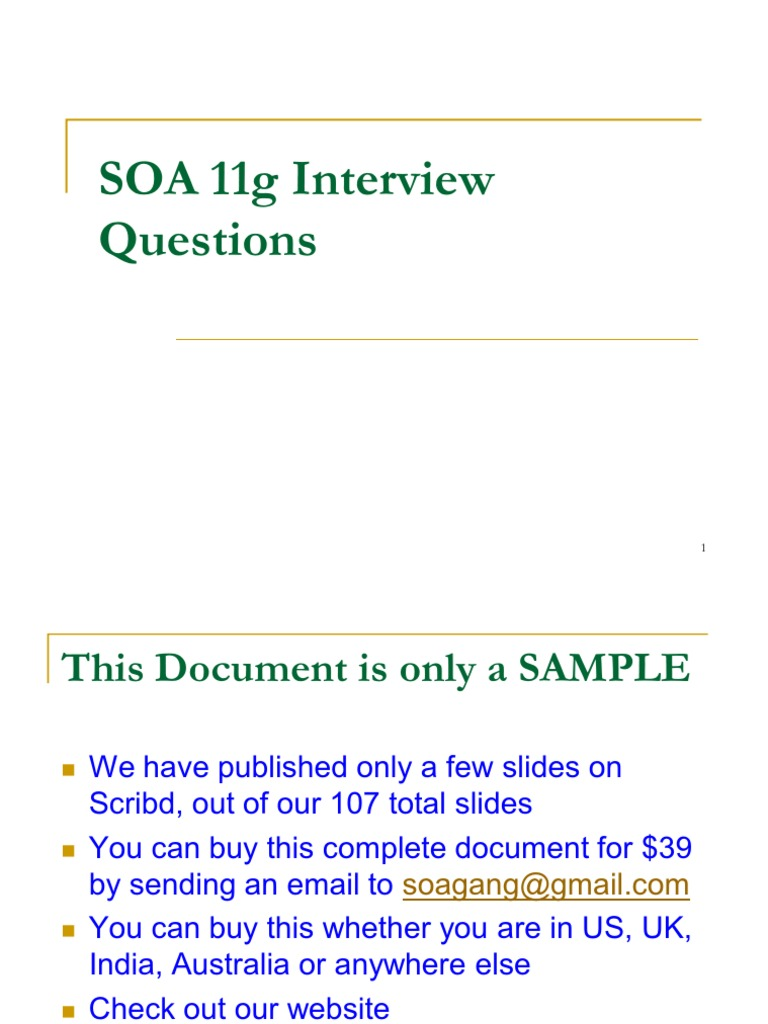 SOA 11g Interview Questions | Service Oriented Architecture | Database  Transaction