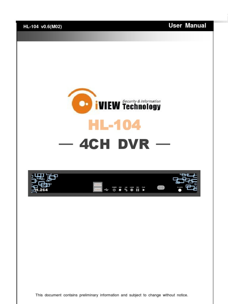 iView HL-104 User Manual | Digital Video Recorder | Usb