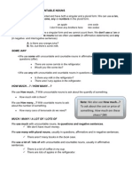 Countable and Uncountable Nouns - Explanation Sheet