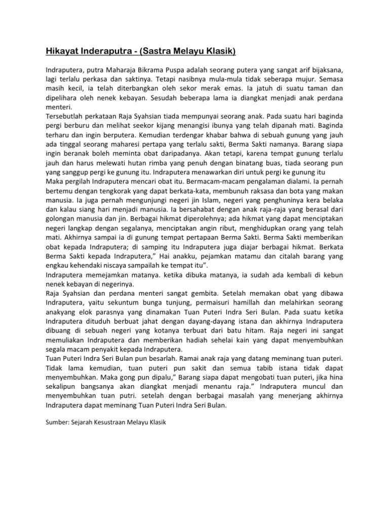 Sastra Melayu Klasik Hikayat Inderaputra Sastra Melayu Klasik