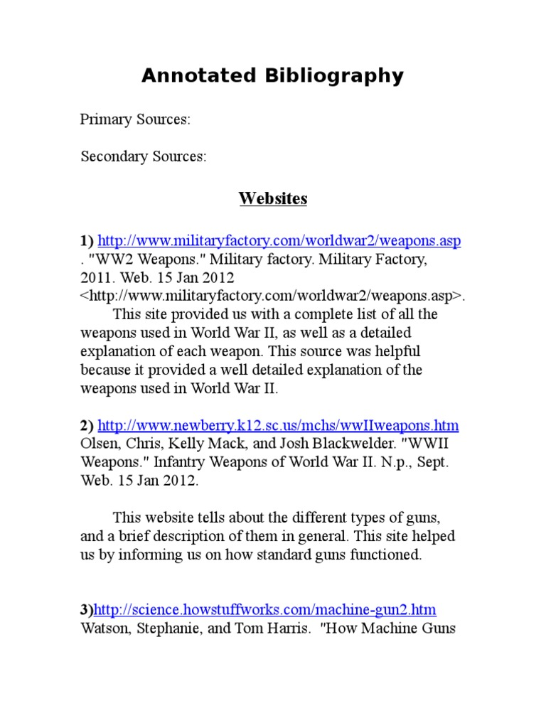 Annotated Bibliography   Websites  Technology