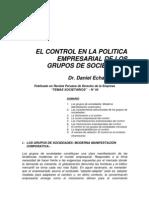 El Control en La Politica rial de Los Grupos de Sociedades