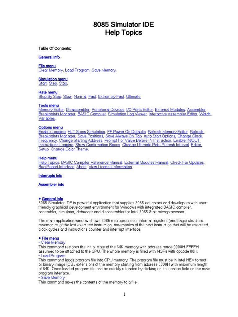 help topics input output assembly language rh es scribd com 8080 Intel Architecture Intel 8085 Kit
