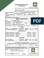 Model Birth Certificate-English