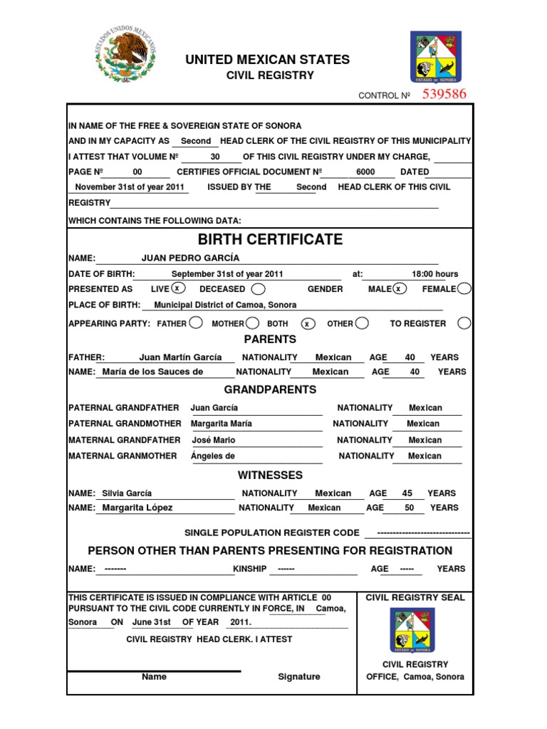 Model birth certificate english yadclub Images