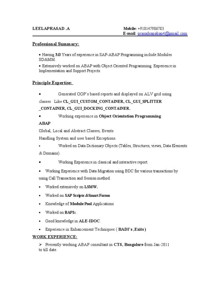 prasad sap abap 3 resume object oriented programming