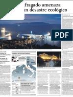 Catástrofe Ecológica con naufragio de Crucero de lujo en Italia