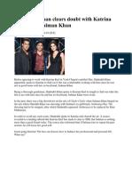Shahrukh Khan Clears Doubt With Katrina Kaif About Salman Khan