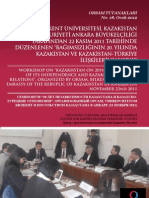 BAĞIMSIZLIĞININ 20. YILINDA  KAZAKİSTAN VE KAZAKİSTAN-TÜRKİYE  İLİŞKİLERİ - orsam 2011