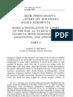 A Mamluk Theologians Commentary on Avicennas Risala Adhawiyya