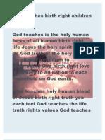 God Teaches Birth Right Children Believe It