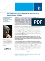 12-13 IRD Awarded USAID Cooperative Agreement to Assist Afghan Civilians
