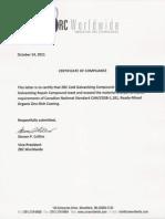 CAN/CGSB 1.181 Certificat ZRC Letter