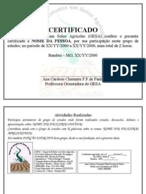 Modelo Certificado De Participação