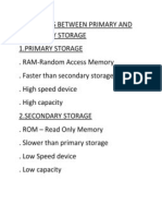 Diffrences Between Primary and Secondary Storage