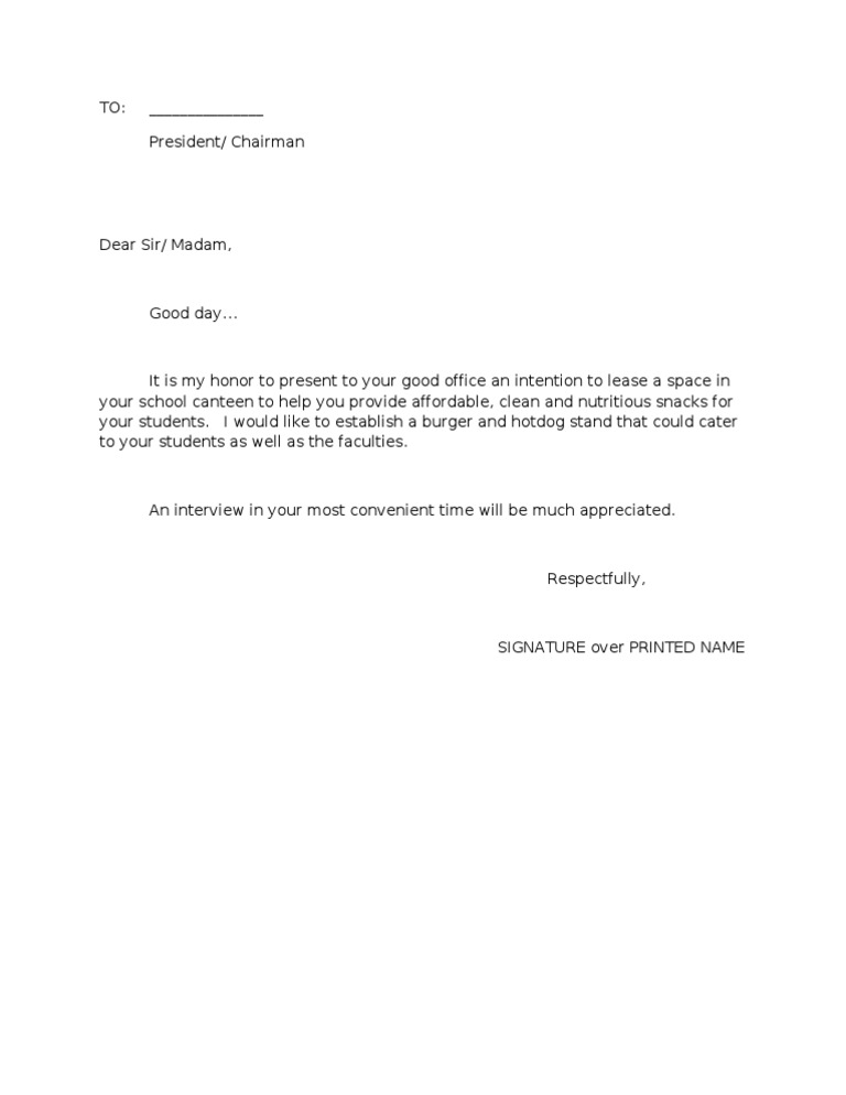 Letter of Intent2 – Lease Letter of Intent Sample