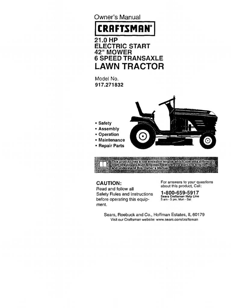 Craftsman Model 917 Wiring Diagram 271832 Schematic Diagrams Mower Lt 1000 Manual 2 Tractor Clutch Sears