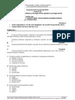 Subiect bac Anatomie si Fiziologie Umana, Genetica si Ecologie Umana