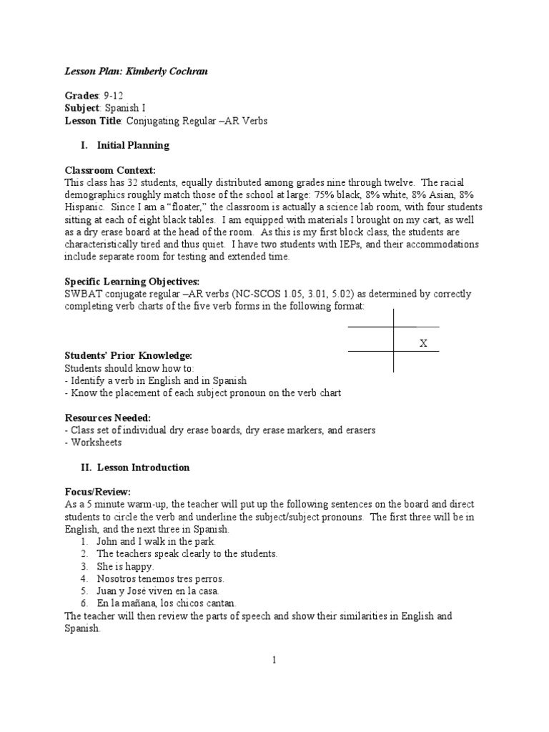 Spanish I Conjugating Ar Verbs Lesson Plan1 – Spanish Ar Verbs Worksheet