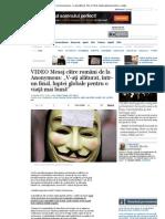 """VIDEO Mesaj către români de la Anonymous_ """"V-aţi alăturat, într-un final, luptei globale pentru o viaţă mai bună"""""""