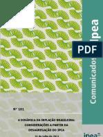 Comunicado Ipea - A Dinamica da Inflação Brasileira apartir da desagregação do IPCA