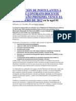 INSCRIPCIÓN DE POSTULANTES A PLAZA DE CONTRATO DOCENTE PARA EL AÑO PRÓXIMO
