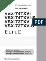Pioneer Elite VSX72TXV Operating Instructions