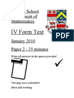 Year 9 January 2010 Paper 2 (Top 3 Sets)