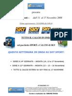 PALINSESTO Calcio sui canali SKY - dall'11 al 17 Novembre