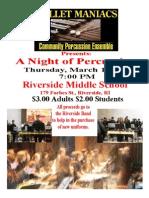 Percussion Ensemble Benefit Concert for Riverside Middle School Band