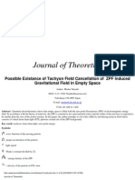 Musha Takaaki- Possible Existance of Tachyon Field Cancellation of ZPF Induced Gravitational Field in Empty Space