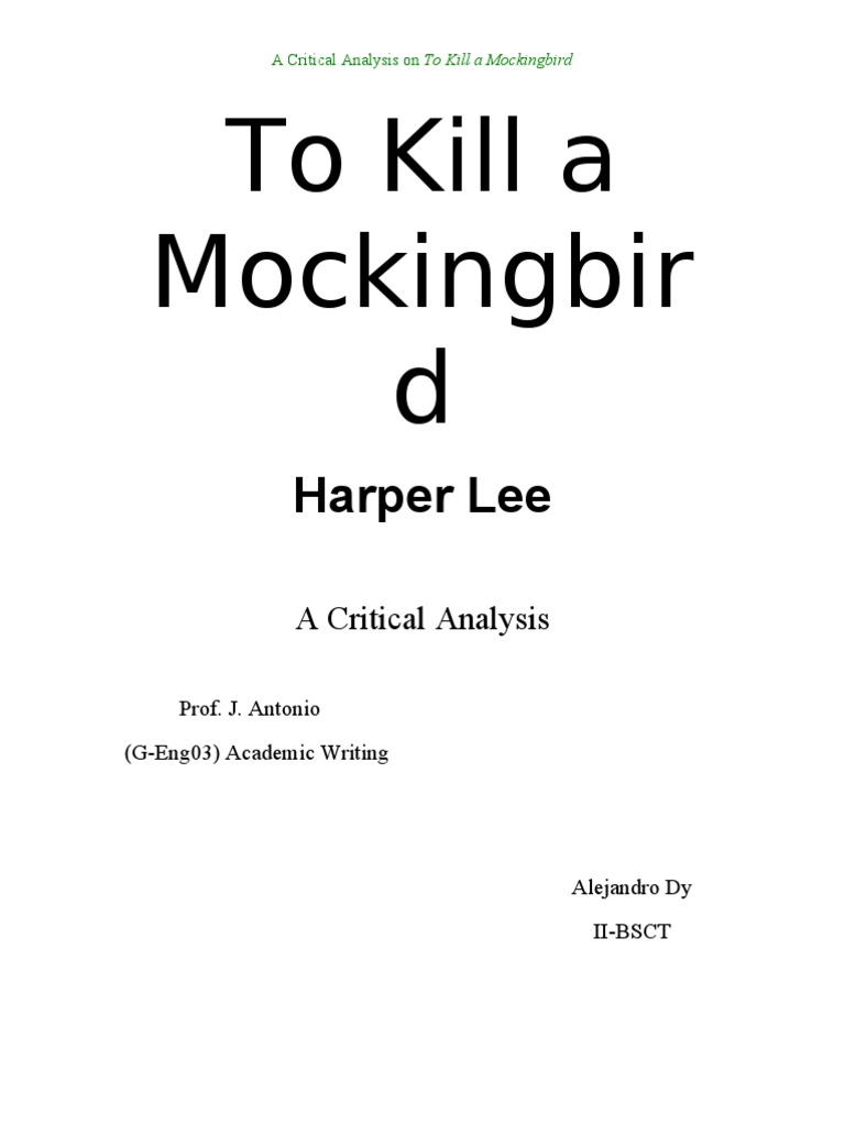 to kill a mockingbird literary analysis essay
