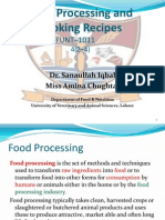 Food Processing and Cooking Recepies