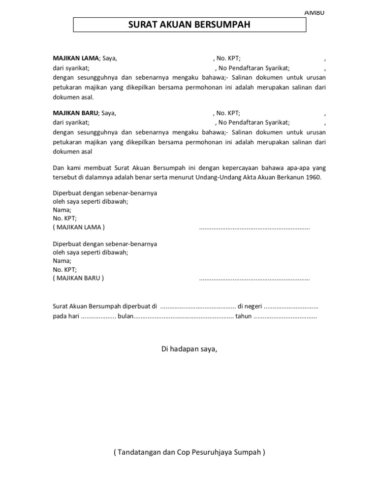 Tukar Majikan Surat Akuan Bersumpah Dan Pelepasan Penerimaan Sample