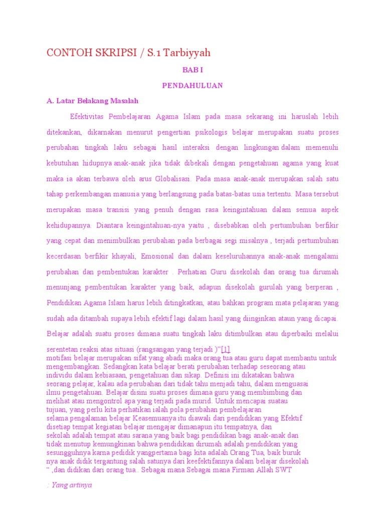 76228543 Contoh Skripsi Efektifitas Pembelajaran Pai 1